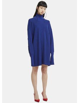Long Sleeve Roll Neck Knit Dress In Blue by Maison Margiela