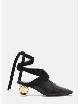 Women's Cylinder Heeled Leather Ballerina Shoes In Black by Jw Anderson