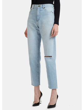 70's Baggy Knee Jeans In Blue by Saint Laurent
