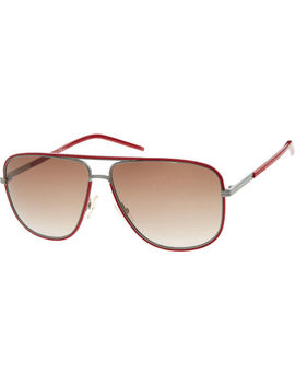 Red Rectangular Aviator Sunglasses by Dior Homme