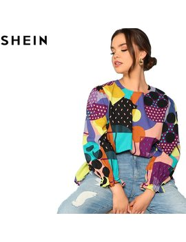 Shein Cotton Linen Multicolor Geometric Print Preppy Plus Size Women Blouses 2018 Fashion Long Raglan Sleeve Ruffle Cuff Top  by She In