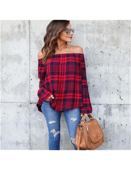 Mxtoppy Red And Black Plaid Strapless Shirt Long Sleeve Slim Single Breasted Shirts Striped Tops Off Shoulder Sexy Blouses  by Mxtoppy