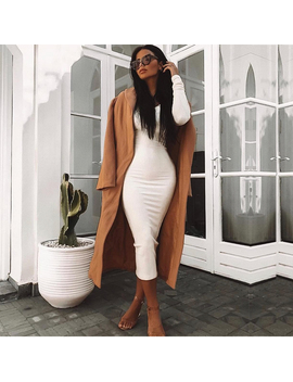 New Asia Garden Ribbed Winter White Dress Party Bodycon Dress Women Elegant Long Dress Midi Skinny Sexy Dresses Club Wear Vestido by New Asia Garden