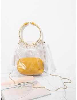 Clear Pvc Tote Bag With Inner Pouch by Sheinside