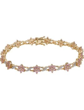 9ct Gold Pink Sapphire And Diamond Bracelet by Argos