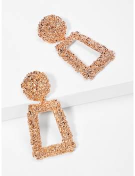 Open Rectangle Textured Drop Earrings by Sheinside
