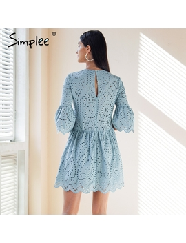 Simplee Cotton Lace Embroidery Mini Dress Women Button Ruffle Sleeve Causal White Dress Spring Hollow Out Short Dress Vestidos by Simplee