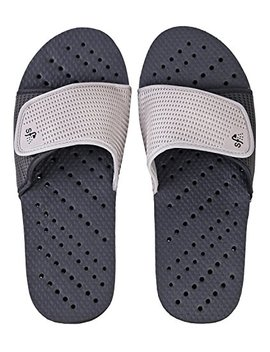 Showaflops Mens' Antimicrobial Shower & Water Sandals For Pool, Beach, Dorm And Gym   Adjustable Colorblock Slide by Showaflops