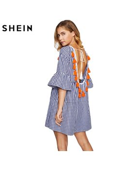 Shein Tassel Tied Open Back Tiered Gingham Dress Blue Plaid Straight Boho Dress Half Sleeve Drop Waist Short Dress by She In
