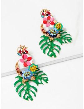 Tropical Leaves & Sequin Flower Drop Earrings by Sheinside