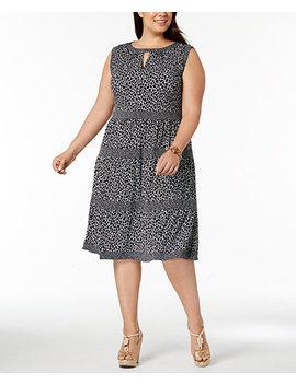 Plus Size Leopard Print Tiered Dress by Michael Michael Kors