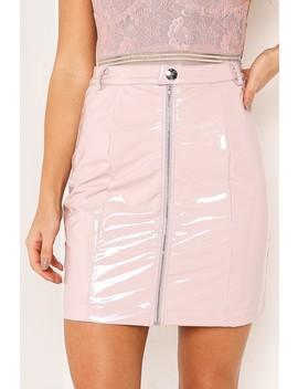 Pink Vinyl Zip Mini Skirt by Lasula