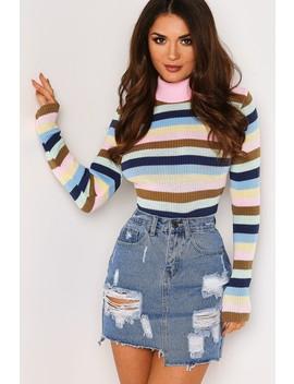 Multi Stripe Knitted Rib Jumper by Lasula