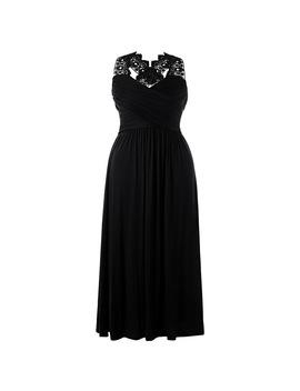 Gamiss Plus Size Lace Insert Empire Waist Maxi Dress Women Elegant V Neck Party Lace Dress Plus Size Vintage Long Maxi Dress 5 Xl by Gamiss