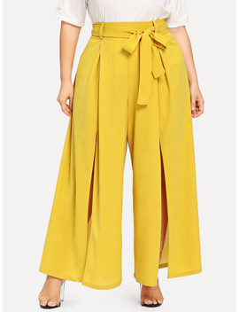 SheinPlus Self Belted Wide Leg Pants by Shein