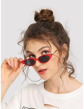 Cat Eye Metal Temple Sunglasses by Sheinside