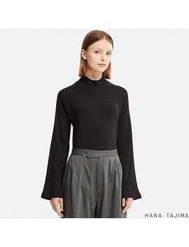 Women Hpj Ribbed High Neck Long Sleeve T Shirt by Uniqlo