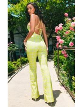 Lime Green Strappy Back Check Wide Leg Jumpsuit  by Prettylittlething