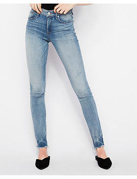Mid Rise Raw Hem Stretch Super Skinny Jeans by Express