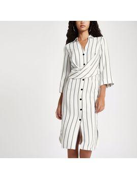 Cream Stripe Button Up Midi Dress by River Island