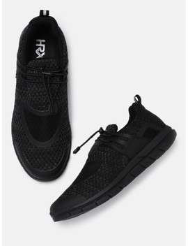 Hrx By Hrithik Roshan Men Black Woven Design Sneakers by Hrx By Hrithik Roshan