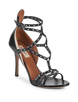 Rockstud Leather Ankle Strap Sandals by Valentino Garavani