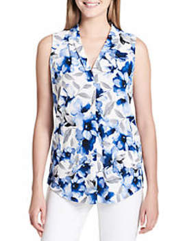 Printed High Back Low V Top by Calvin Klein