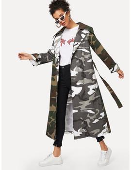 Camouflage Print Self Tie Coat by Sheinside
