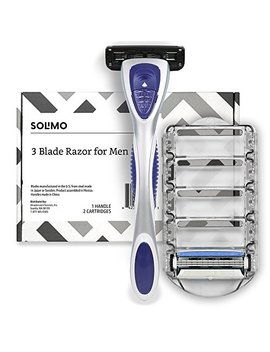 Amazon Brand – Solimo 3 Blade Razor For Men, Handle & 2 Refills by Solimo