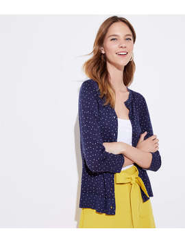 Dotted 3/4 Sleeve Signature Cardigan by Loft