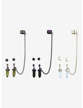 Blackheart Moon Star Crystals Cuff Earring Set by Hot Topic