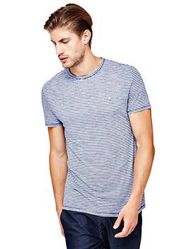 T Shirt With Micro Stripe Print by Guess