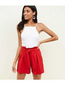 Red Crepe Scuba Tie Front Shorts by New Look