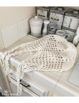Farmhouse Mesh Market Bag, Farmer's Market Eco Shopping Produce Crochet Pattern by Karlas Making It