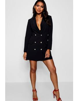 Longline Gold Button Blazer by Boohoo