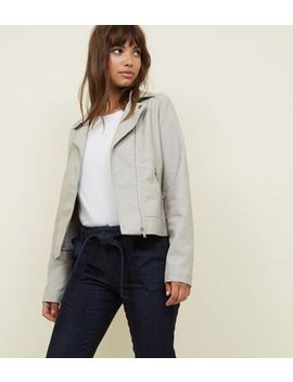 Pale Grey Leather Look Biker Jacket by New Look