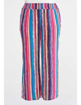 Plus Size Striped Gauze Palazzo Pants by Cato