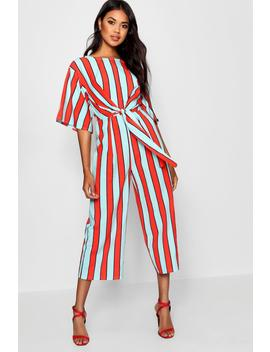 Stripe Tie Front Jumpsuit by Boohoo