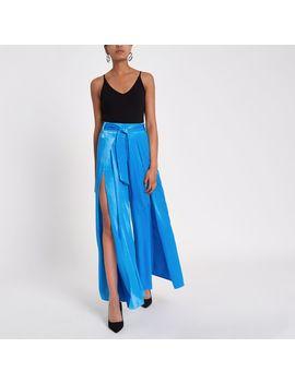 Blue Split Wide Leg Trouser by River Island