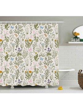 Ambesonne Floral Shower Curtain, Vintage Garden Plants With Herbs Flowers Botanical Classic Design, Fabric Bathroom Decor Set With Hooks, 70 Inches, Beige Reseda Green Pink Blue by Ambesonne