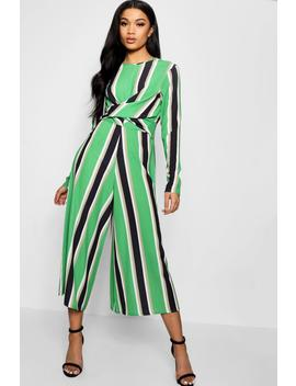 Striped Twist Front Culotte Jumpsuit by Boohoo