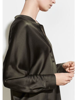 Band Collar Silk Blouse by Vince
