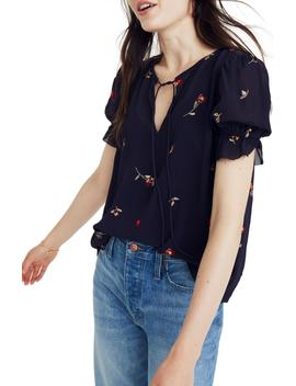 Embroidered Zephyr Ruffle Sleeve Top by Madewell