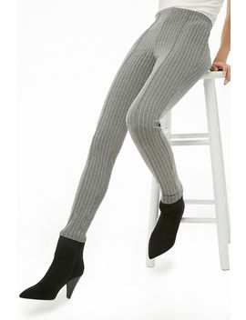 Pinstriped High Waist Leggings by Forever 21