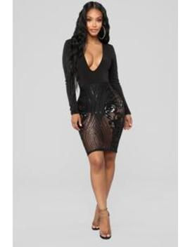 Call Out My Name Sequin Dress   Black by Fashion Nova
