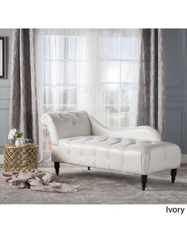 Ariel Leather Tufted Chaise Lounge, Ivory by Gdf Studio
