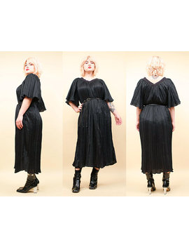 80s Vtg Black Micro Pleat Bell Sleeve Midi Sheath Dress Caftan / Witchy Kaftan Goth Boho Crochet Neckline Osfm Plus Size L   Xxl by Nanometer