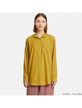 Women Hpj Flannel Oversize Long Sleeve Shirt by Uniqlo