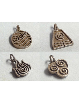 Avatar The Last Airbender All Four Elements Stainless Steel 3 D Printed Jewelry Pendants by Geek Chic Digital Art