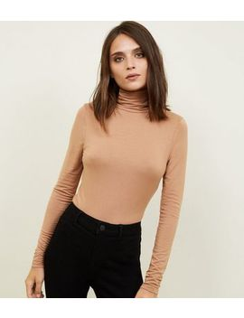 Camel Roll Neck Top by New Look